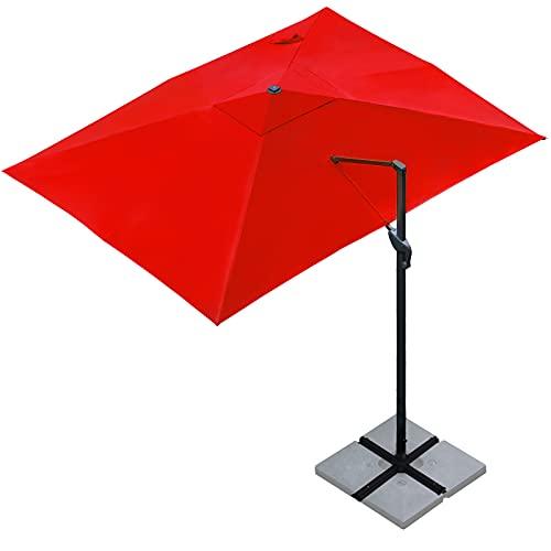 Sunnyglade 10x13Ft Cantilever Patio Umbrella Rectangular Deluxe Offset Umbrella 360°Rotation & Integrated Tilting System Patio Hanging Umbrella for Market Garden Deck Pool Backyard Patio(Red)