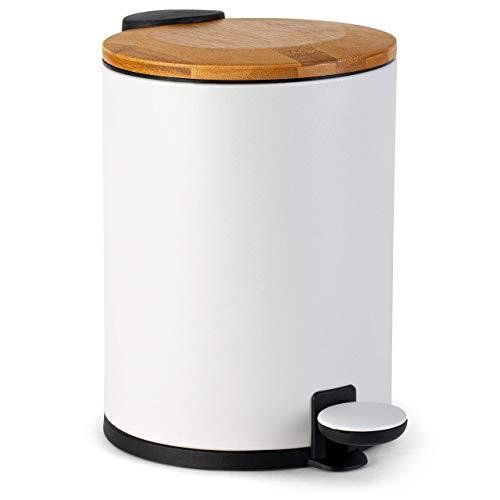 Kazai.® Bambus Kosmetikeimer | Absenkautomatik und rutschfest | 3 Liter | Weiß