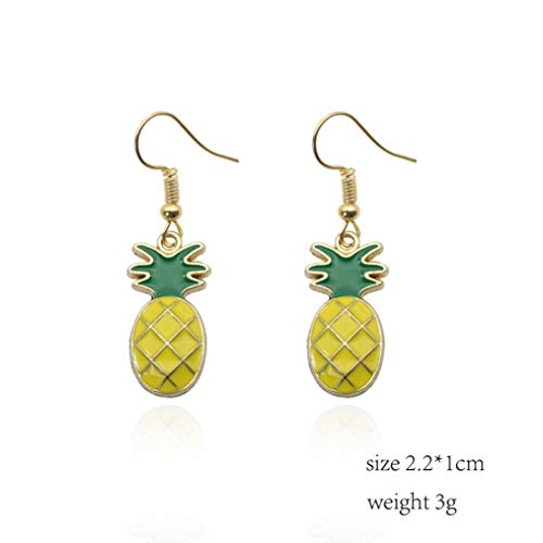 Cartoon Pineapple Banana Watermelon Drop Earrings Women Rhinestones Enamel Potted Plant Ice Cream Fruits Dangle Earring