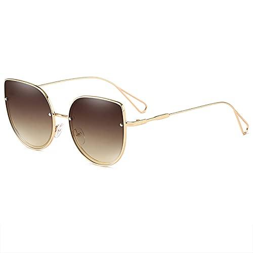 QFSLR Gafas De Sol para Hombre con Ojo De Gato, Protección UV400, Marco De Acero Inoxidable, Gafas De Sol para Mujer
