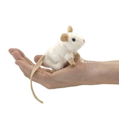 Folkmanis Mini White Mouse Finger Puppet, One Size by Folkmanis