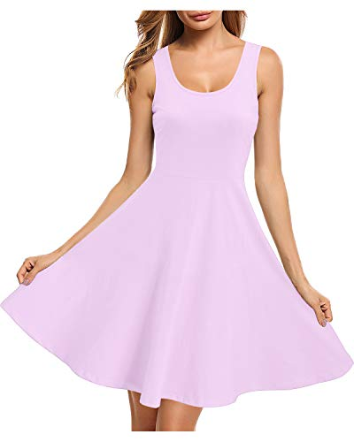 STYLEWORD Women's Sleeveless Casual Cotton Dresses Summer Fit and Flare Midi Dress(Lavender,S)