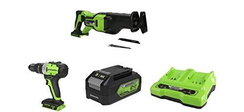 Greenworks Tools Batería sierra de sable GD24RS, 24V Li-Ion control de velocidad + Taladro/Atornillador GD24DD65 + Batería G24B4 2ª generación + Batería de doble ranura Cargador universal G24X2C