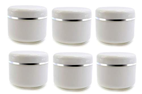 6 PCS Frascos Cosméticos Plástico Blanco con Tapa Tornillo y Liner Interno Maquillaje de Muestra Botellas Envases Viales Contenedores Almacenamiento para Crema Bálsamo Labial Crema(30G/1oz)