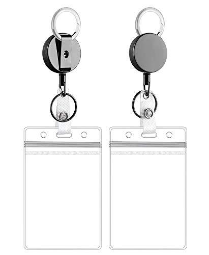 HONZUEN Ausweishalter mit Jojo, Schlüsselring Retractable Badge Reel mit Belt Clip mit Vertikal ID Card Holder Ausweishülle, Ausweis JoJo mit Stahldrahtseil für Schlüsselanhänger ID Card, Schwarz
