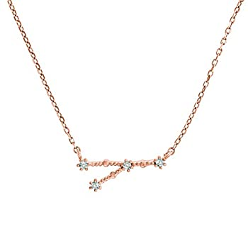 PAVOI 14K Rose Gold Plated Astrology Constellation Horoscope Zodiac Necklace 16-18  - Cancer