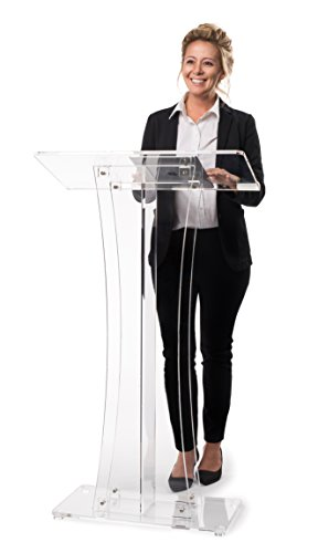 AdirOffice Acrylic Stand up, Floor-Standing Podium, Lectern (Clear)