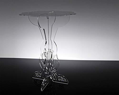 Slato Tavolino Basso da Salotto Design Moderno in plexiglass Trasparente Colia (44 x h70)