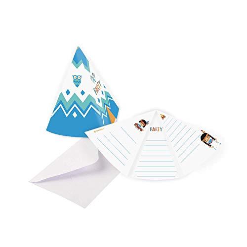 Amscan 9904143 - Einladungskarten Tepee & Tomahawk, 8 Stück, Größe 8,1 x 10,8 cm, Karten und Umschläge, Indianer, Pferd, Zelt, Kindergeburtstag, Kinderparty, Mottoparty, Einladung