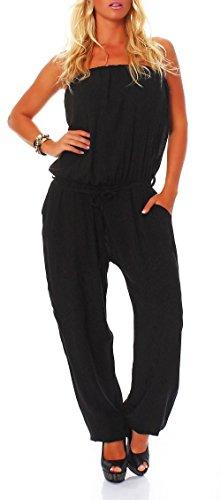 Malito Damen Einteiler in Uni Farben   Overall mit Stoffgürtel   Jumpsuit - Hosenanzug - Romper 4538 (schwarz)