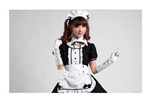 Bfrdollf Traje de Doncella de Anime Sexy French Maid Disfraz Sweet Gothic Lolita Dress Anime Cosplay Uniform Tallas Tallas Tallas de Halloween Trajes for Mujeres (Color : Black, Size : XXX-Large)