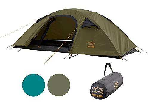Grand Canyon APEX 1 - Kuppelzelt für 1-2 Personen | Ultra-leicht, wasserdicht, kleines Packmaß | Zelt für Trekking, Camping, Outdoor | Capulet Olive (Grün)