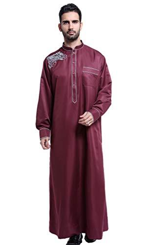 GladThink Hommes Thobe avec Longue Manches Arabe Musulmane Wine XXL