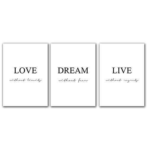 """WJY Lienzo de pared con frase en inglés """"Love Live"""", arte de ensueño, impresión y póster para decoración del hogar, 30 cm x 40 cm x 3 cm, sin marco"""