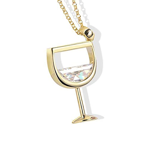 Rose Gold Chain Wine Glass Pendant Necklace Zircon Crystal Wine Cup Charm Necklace for Women Chokers Necklaces Gold