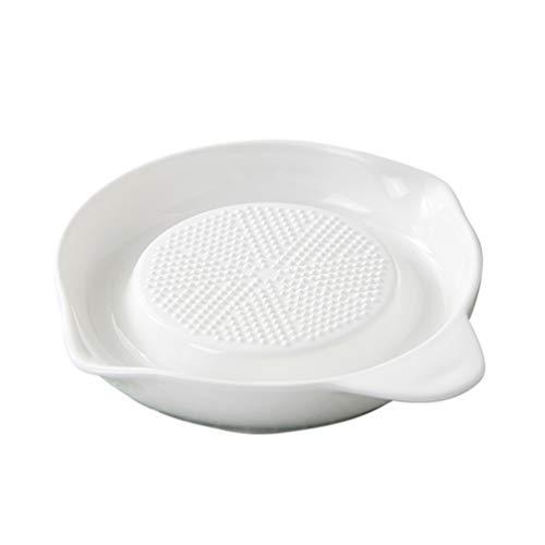 Angoily Plato Rallador de Jengibre de Porcelana para Jengibre Ajo Y Cebolla Especias Limón para Cocina (Blanco)