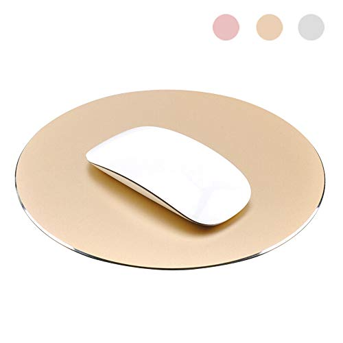 ProElife Premium Aluminum Metal Mouse Pad Mice Mat 8.66 inch (Round, Champagne Gold)