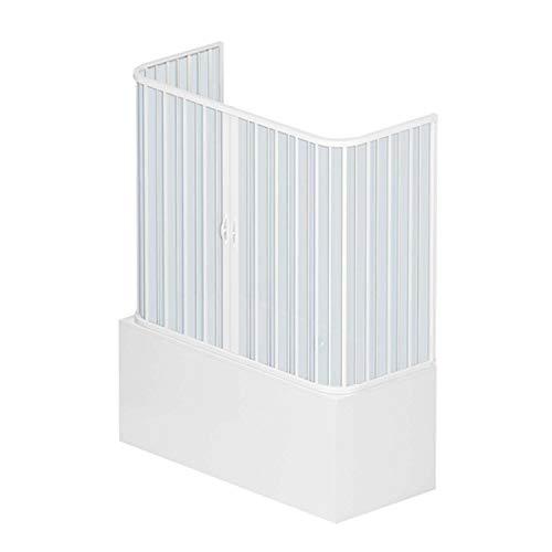 3-seitige Wannenbox 70x170 aus PVC Mod. Nische mit zentraler Öffnung, pastellweiß.
