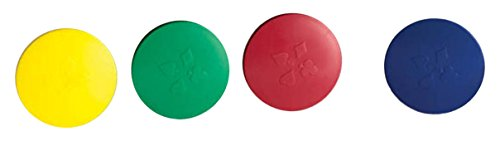 Round Card Holders with Case in Red, Yellow, Green & Blue, Multi