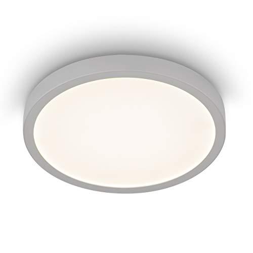 EGLO LED Deckenleuchte Molay, 1 flammige Aufbauleuchte Modern aus Stahl und Kunststoff, Deckenlampe in Silber, Weiß, LED Aufbaulampe warmweiß, Ø 28,5 cm, 75529, silber/weiss