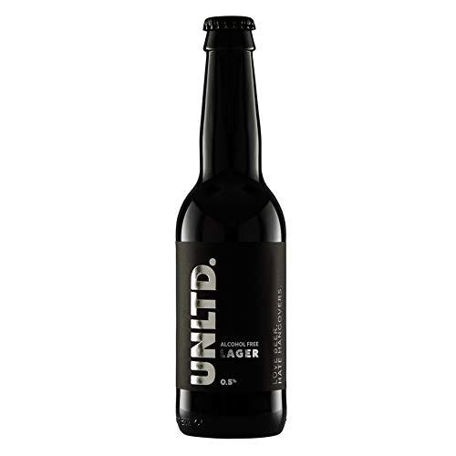 UNLTD. Alcohol Free Beer | 24 Bottles Premium 0.5% Lager | Brewed in The UK | Low Calorie, Vegan, Non Alcoholic Craft Beer