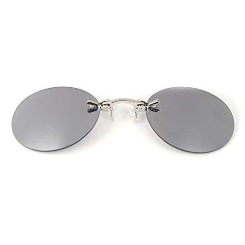 Joocyee - Gafas de Sol Retro, Redondas, Vintage, Unisex, con Clip para la Nariz, con Espejo, Mini Gafas de Metal, Plateado, Retro, con Forma de Nariz, Espejo, Matriz, Mini Ojos de Sol, Plateado
