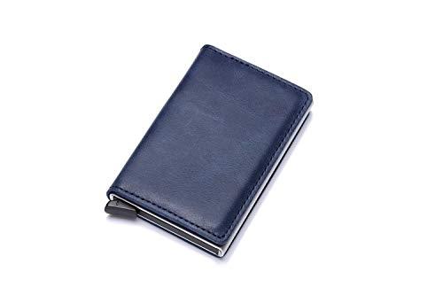 Cartera para Hombre de Cuero, Paquete de Tarjeta de Billetera Push-Pull de Aluminio RFID para Hombre, Azul Real