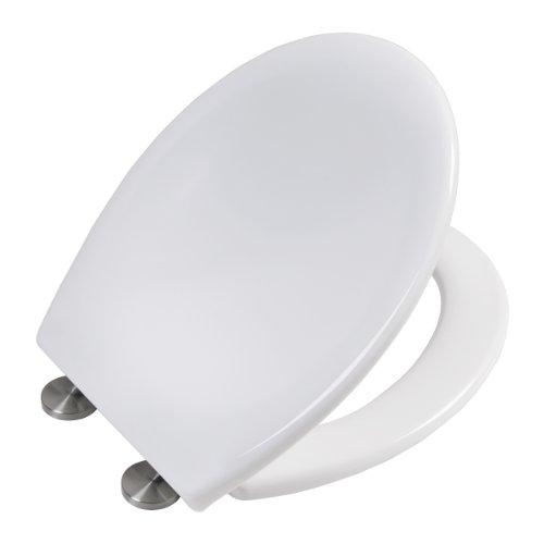 Asiento de inodoro con cierre suave y función de liberación rápida | tapa wc | de Duroplast (resina UF) | blanco | con protección antibacteriana | modelo número 2009