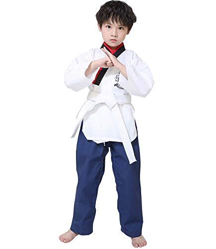 JXS Taekwondo Trainingsanzug für Anfänger-White Top + Blaue Hose-Loose-Design und angenehm zu tragen mit Gürtel-für Erwachsene & Kinder,XXXL