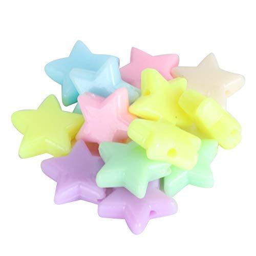 Cuentas redondas, coloridas estrellas de cinco puntas hechas a mano, brocas hechas a mano, suministros para manualidades, kits de cuentas de entretenimiento redondas livianas de acrílico