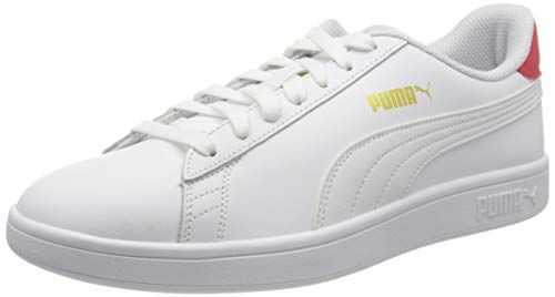 Puma Herren Smash V2 L Sneaker, Weiß White High Risk Red Team Gold, 43 EU