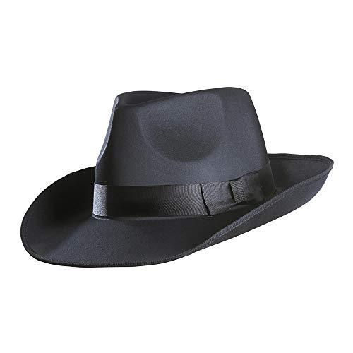 Widmann 2487G – Gangster Hut, aus Satin, schwarz, Kopfbedeckung, Filzhut, Charleston, 20er Jahre Outfit, Motto Party, Karneval, Halloween