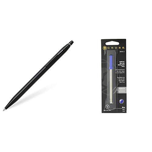 Cross Click AT0625-2 - Bolígrafo de tinta de gel, Negro/Plateado + 8910-2 - Recambio para bolígrafo Selectip, tinta gel, color azul