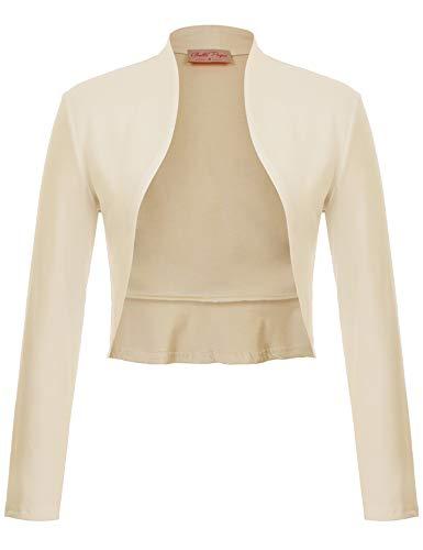 Belle Poque 1920s Ladies Bolero Full Sleeve Jacket Shrug Cardigan Ivory Shrug for Dress (Apricot,M)