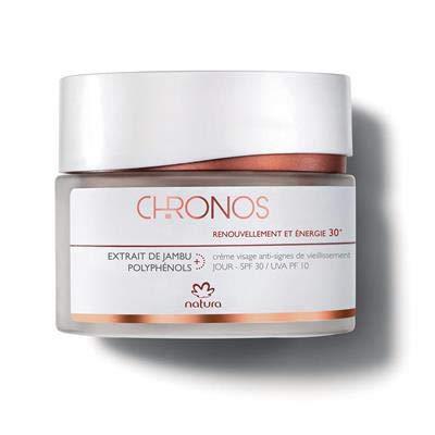 NATURA - Chronos Gesichtscreme Anti-Falten Tag 30+ - Erneuerung & Energie - Anti-Müdigkeit - Korrigiert die 1. Anzeichen der Hautalterung - Sonnenschutzfaktor LSF30 - 100 % vegan - Cruelty Free - 40 g