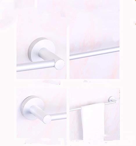 ZXL Handdoek ruimte aluminium rek, enkele paal, handdoek rail, ronde bodem, muurbeugel, 58 cm, enkele pool