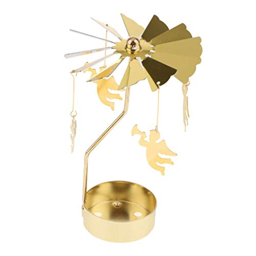 Christmas Windmill Decor Rotating Candle Tea Light Holder Candlestick Ornament- Snowflakes, elf, Star, Heart, Tree, Reindeer -Golden Plated - Angel