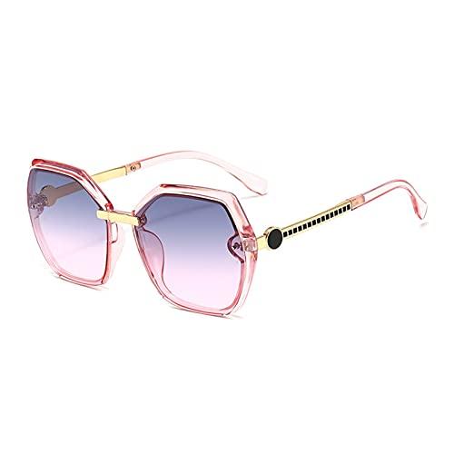 MINGQIMY Gafas de Sol Gafas de Sol de Las Mujeres de Gran tamaño de la Vendimia 2021 Tonos de Marco Grande Negro para Las Damas Femeninas UV400 (Frame Color : G, Lenses Color : C9Pink)