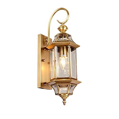 YXLMAONY Lámparas de pared modernas de cobre para exteriores, apliques de luz LED para pared, apliques de luz para pared exterior, lámparas montadas en la pared, luz de porche y patio, resistente al a