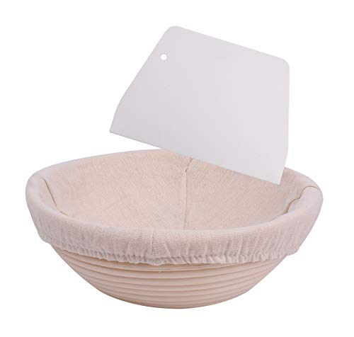 8.5 inch Bread Banneton Proofing Basket - Round Basket Baking Bowl with Linen Liner Cloth and Dough Scraper