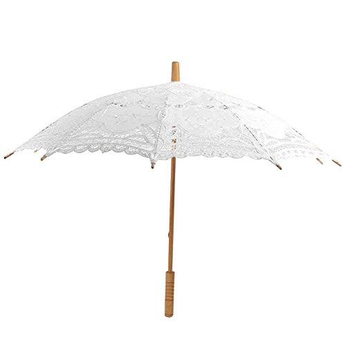 Moresave Vintage Handgefertigt Spitze Sonnenschirm Regenschirme für Braut Brautjungfer Hochzeit Partei Fotografie Dekoration, Weiß