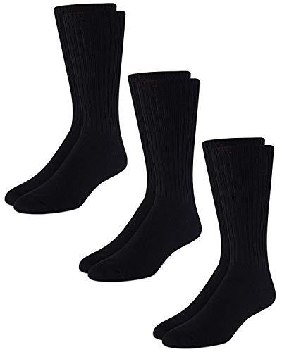 Calvin Klein Men's 3 Pack Cotton Rich Casual Rib Socks, Black, Shoe Size 7 -12