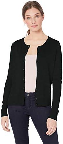 Amazon Essentials Women s Lightweight Crewneck Cardigan Sweater Black X Large product image