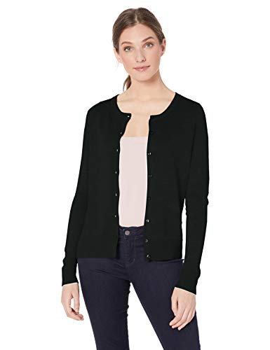 Amazon Essentials Women's Lightweight Crewneck Cardigan Sweater, Black, Small