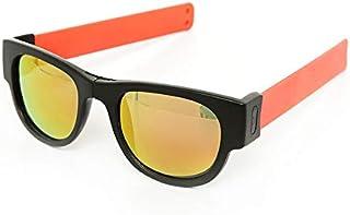 Slapsee - Pro Folding, Wrist Slapping, Sunglasses that never fall off - Black Frame, Coral Slap,Multi Lens - SLS-BLK-CRL-MLT
