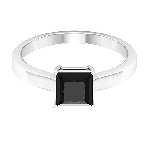 Anillo solitario de 1,25 CT para mujer con diamante negro creado (6 mm, talla princesa, diamante negro creado), 14K Oro rosa, Size:EU 63