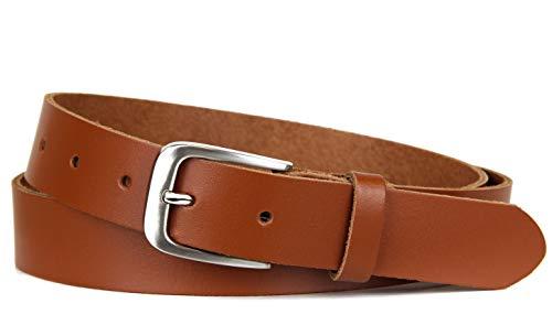 Frentree Ledergürtel 100% Echt Leder, Made in Germany, 3 cm breit und 0.25 cm stark, Braun, 85cm (für HüftumfJahrg 80-90 cm)