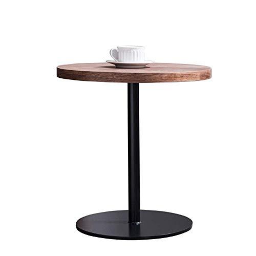 YO-TOKU Mesa de café Fin mesa redonda lateral moderna de gama Mesilla de noche Accent Mesa for sala de estar dormitorio balcón Familia Sofá lado del extremo de la tabla (Color: Marrón, Tamaño: 50X50X5