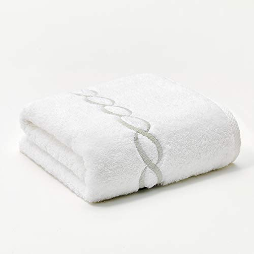 Calla Angel Superior 1000 Gram Egyptian Cotton Oversize 63 x 31 Bath Towel,1 Piece, Silver Chain
