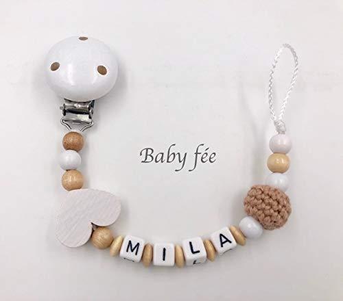 Attache tétine, attache sucette bébé personnalisé perles de bois fille garçon nature coeur